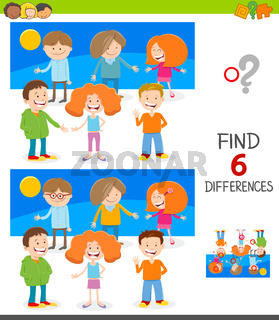 finding differences game with happy kids