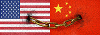 China and Usa Flags Chained
