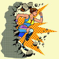 breaks the wall disabled woman runner with leg prostheses running forward. sports competition