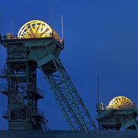 Illuminated sheaves, closed Westphalia coal mine, Ahlen, North Rhine-Westphalia, Germany, Europe