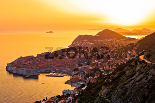 Historic town of Dubrovnik aerial sunset view