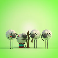 3d illustration four cute cartoon sheeps playing music on green background