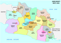 Jawa Barat, West Java administrative and political vector map, Indonesia
