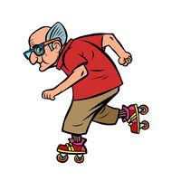 Active sports old man on roller skates