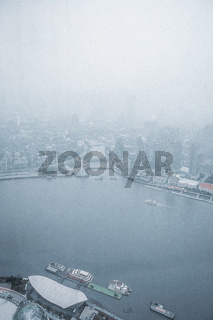 Shanghai Bund Foggy Morning Chinese City Port River Ships Quiet Grey Cloudy Waking up City