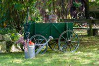 Vintage hand cart in a garden