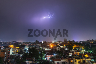 Thunderstorm over Patan in Nepal