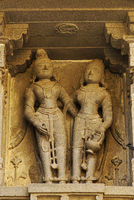 Vitthal Temple at Palashi, Parner, Ahmednagar, stone statues of Rishi on the walls in stone masonry
