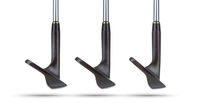 Toes of Black Golf Club Wedge Irons Showing Various Loft Angles of Faces on White Background