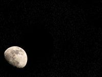 Close up shot of a half moon.