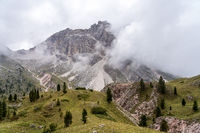 the hiking trail on the Col Raiser plateau above the village of St. Cristina, Italy