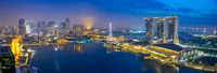 Singapore panorama view of cityscape skyline with view of Marina bay in Singapore city