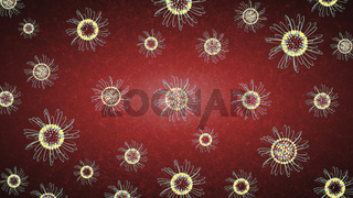 Multicolored Flowers On Red Background. Spring Concept
