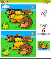 differences game with hedgehog animal characters
