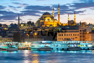 Istanbul cityscape skyline at night in Istanbul city, Turkey