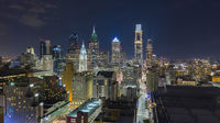 Night Falls on the East Side of Downtown Philadelphia Pennslyvania