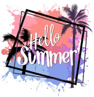 Hello Summer Design with Colorful Splatters and Palms