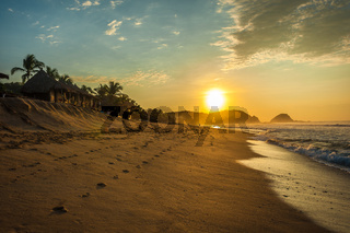 Zipolite beach at sunrise, Pacific coast of Mexico