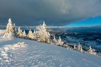 Winter evening mountain snowy landscape