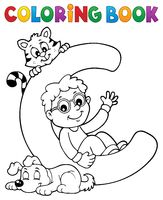 Coloring book boy and pets by letter C
