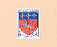 FRANCE - CIRCA 1970: A stamp printed in France shows a shield with a unicorn, circa 1970