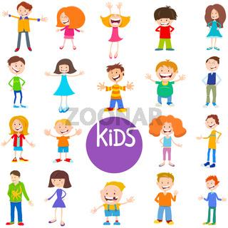 cartoon kids and teens characters set