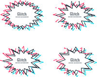 Glitch distortion frames. Vector set of starburst speech bubble, which can be used as borders or outlies. Modern backgrounds for design, poster, banner, brochure, postcard,