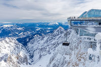 Summit station of cable car on Zugspitze mountain in winter