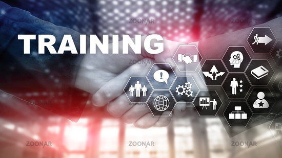 Business training concept. Training Webinar E-learning. Financial technology and communication concept.