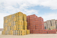 High stacks of stones as stock of dutch factory