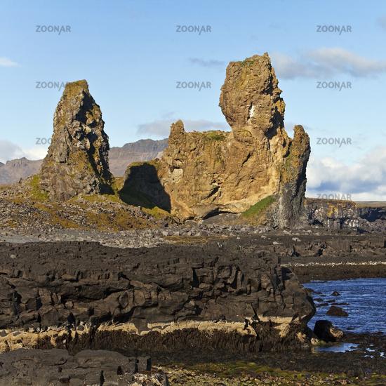 Coastal landscape with rock formation Lóndrangar, Snæfellsjökull National Park, Iceland, Europe