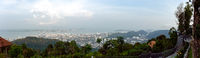 High up panoramic view from the Sky walk view point over looking Penang and George Town, Malaysia.