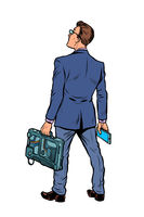 businessman with briefcase and phone. isolate on white background