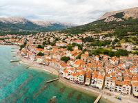 Aerial panoramic view of Baska town, popular touristic destination on island Krk, Croatia, Europe