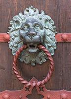 Ornate door knocker side view Lion sculpture