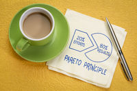 Pareto 80-20 principle concept on napkin