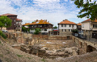 Panoramic view of the ruins of the early Byzantine baths of the times of Saint Justinian the Great.