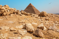 Rocks in the Giza desert in front of the Pyramid, Egypt
