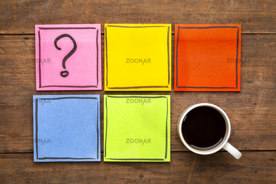 question mark and blank reminder notes