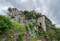 Kotor Fortress on mountainside above old town in Montenegro