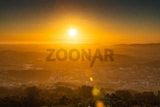 Sunset with sun rays over the Guimaraes