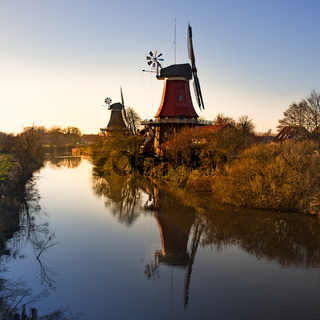 the beautiful greetsieler twin mills in the evening light