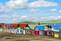 Teehäuser und Fastfood-Restaurants einer Fernfahrerraststätte an der Strasse A0301 bei Erdenesant