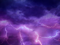 Lightning thunderstorm flash over the night sky. Concept on topic weather