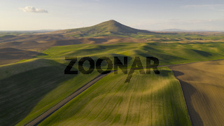 Long Shadows Appear in Late Afternoon Steptoe Butte Palouse Region Sunset
