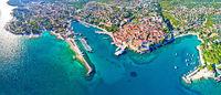 Idyllic Adriatic island town of Krk aerial panoramic view