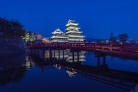 Matsumoto Castle with reflection at night in Nagano, Japan