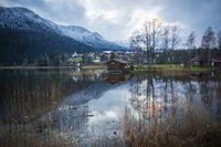 view over the Lake Weissensee at wintertime