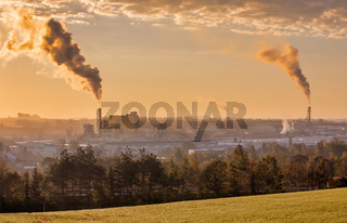 industrial cityscape with with smoking factory