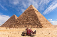 The Pyramid of Khafre and the Pyramid of Khufu in Giza, Egypt